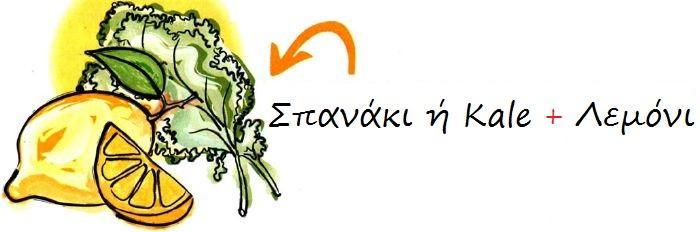 ΣΠΑΝΑΚΙ ΛΕΜΟΝΙ KALE Συνέργεια Τροφών veganworld.gr