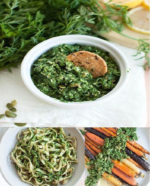 Πέστο με Φύλλα Καρότου vegan συνταγή διατροφική αξία