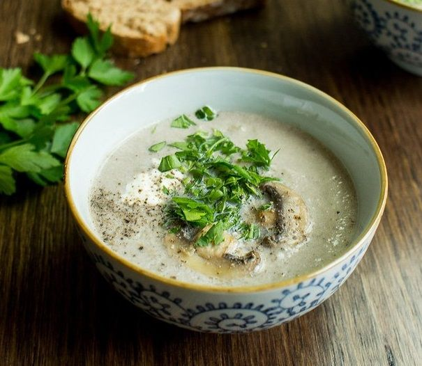 Vegan Μανιταρόσουπα με Κρέμα Καρύδας και Κάσιους