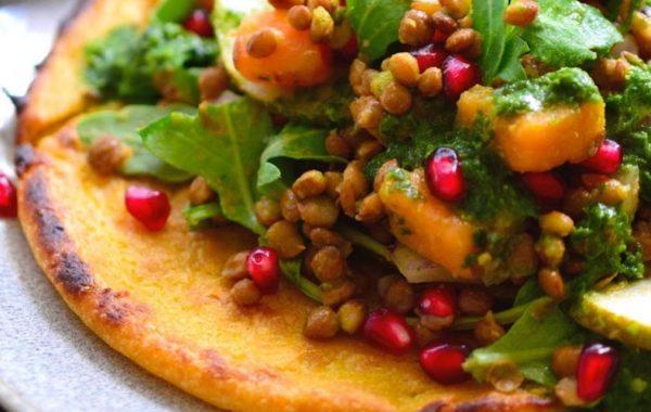 Pancakes Ρεβυθιού Σαλάτα Φακές vegan συνταγή