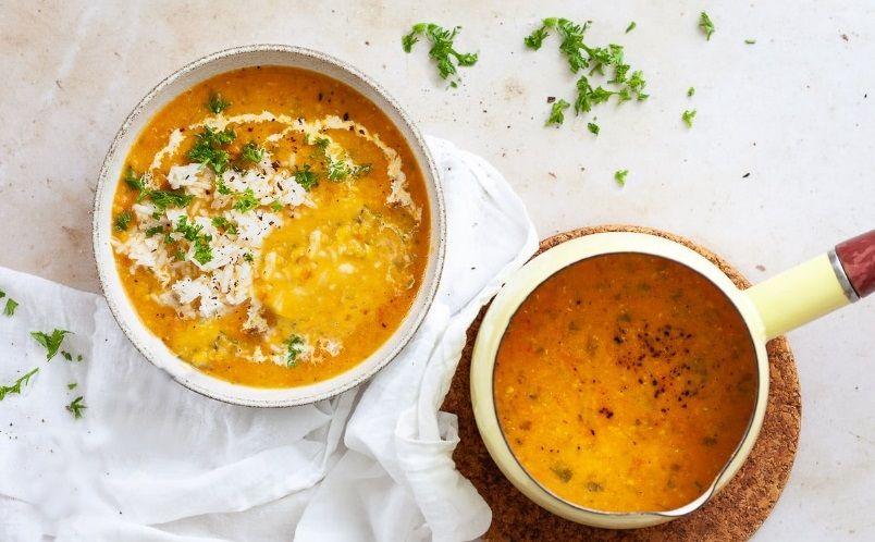 vegan σούπα κόκκινες φακές ρύζι - φυτική πρωτεΐνη