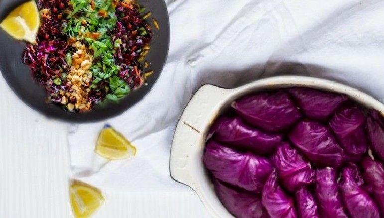 Vegan Λαχανοντολμάδες με φακόρυζο συνταγή βίγκαν