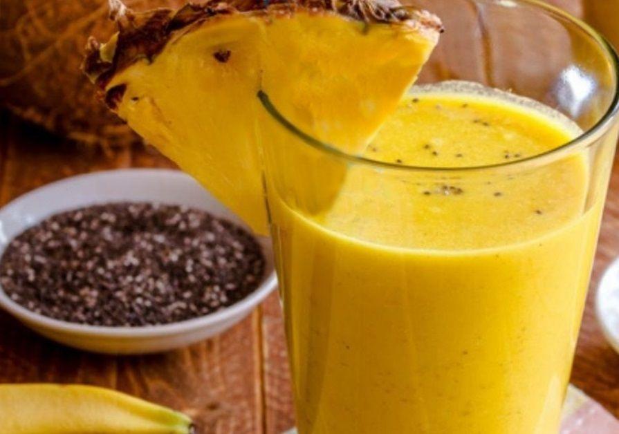 Vegan Smoothie Προσαρμογόνο κατά του έλκους και του άγχους ανανά κουρκουμάς μπανάνα καρύδα